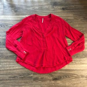 FREE PEOPLE Red Oversized Tunic Peasant Top